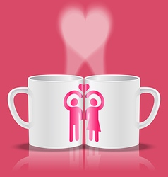 White cups with loving couple making heart shape vector