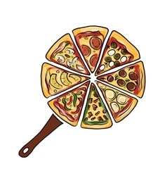 Pan with pieces of pizza sketch for your design vector