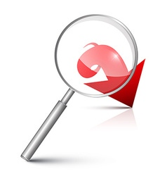Magnifying glass with red arrow vector