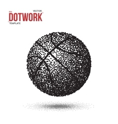 Dotwork basketball sport ball icon made in vector