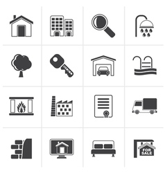 Black real estate icons vector