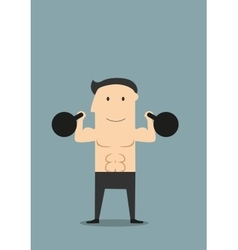 Smiling athlete lifting black kettlebells vector