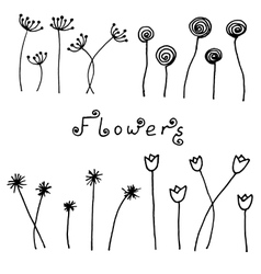 Set of abstract black hand drawn flowers in doodle vector