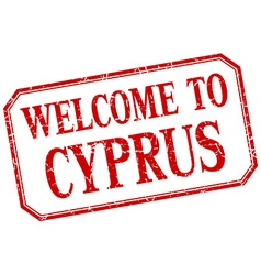 Cyprus - welcome red vintage isolated label vector