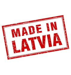 Latvia red square grunge made in stamp vector