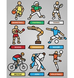 Sport and fitness icons set vector image