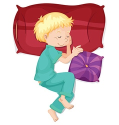 Boy sleeping on red pillow vector