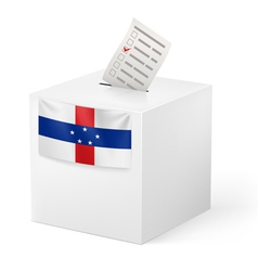 Ballot box with voting paper netherlands antilles vector