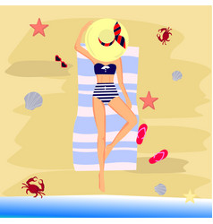 Beautiful girl in bikini on a beach vector