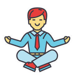 Businessman sitting in yoga pose business vector