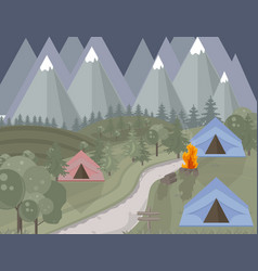 Camping tent mountains background green vector