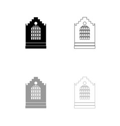 church building black and grey set icon vector image vector image