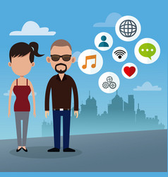 Couple social media urban background vector