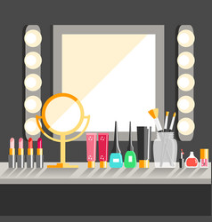 Flat makeup workers workplace mirror decorative vector