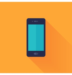 Flat mobile phone over orange vector