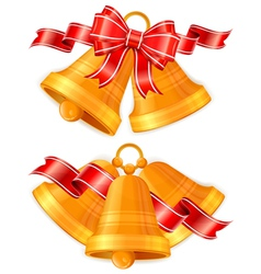 golden christmas bells vector image