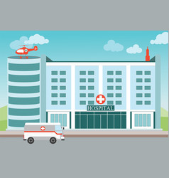 hospital building with medical helicopter and vector image vector image