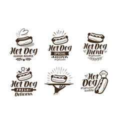 hot dog logo or label fast food takeaway icon vector image