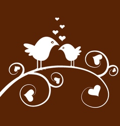 Love birds on a branch vector