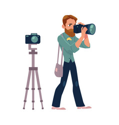 male photographer camera man at work taking vector image vector image