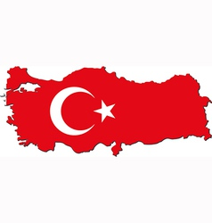 Map of Turkey with national flag vector image