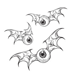 Monster flying eyeballs with creepy demon wings vector