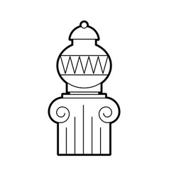 Old museum vase on column vector