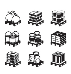 Pallets with building materials vector image