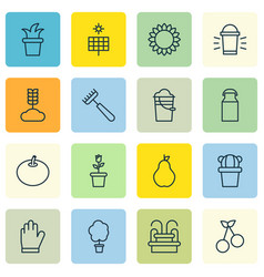 Set of 16 agriculture icons includes duchess jug vector