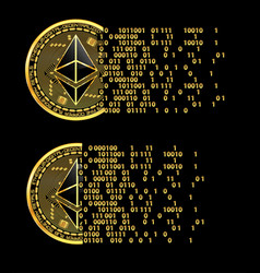 Set of crypto currency ethereum golden symbols vector