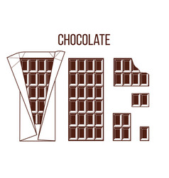 Stick of chocolate stick of dark chocolate whole vector