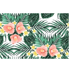 Tropical pattern leaves plumeria camelia flowers vector