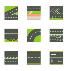 Urban road icons set cartoon style vector