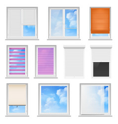 Window blinds colored flat set vector