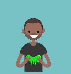 young black character playing with a slime flat vector image vector image