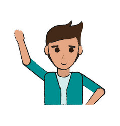 young happy man in casual outfit icon image vector image