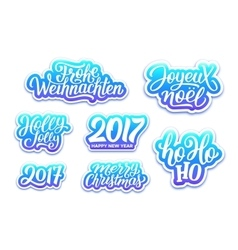Christmas and new year labels set vector