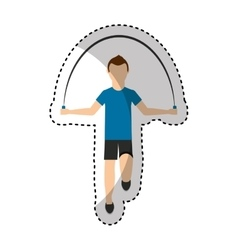 Athlete avatar character jump rope icon vector