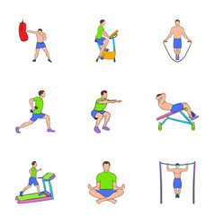 Training apparatus icons set cartoon style vector