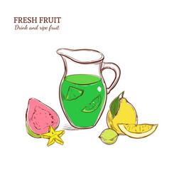 Colored hand drawn exotic lemonade concept vector