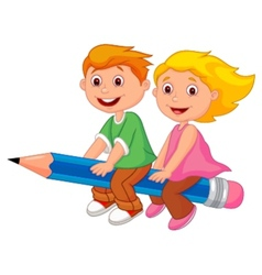 Cartoon boy and girl flying on a pencil vector