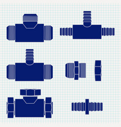 Pipe fitting brass fitting with threaded ico vector
