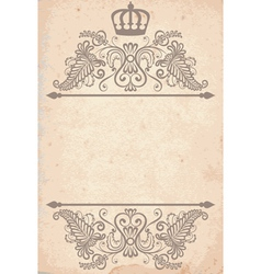 Old paper texture with royal pattern vector