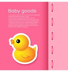 Pink Background with Cartoon Duck vector image