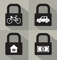 Set of asset security concept vector