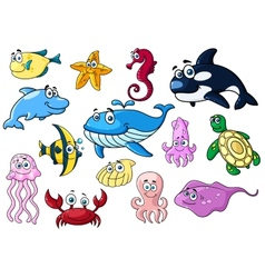 Cartoon sea animals with happy emotions vector