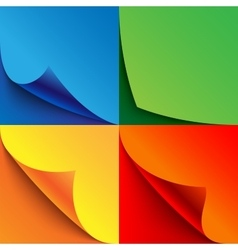 Set of curled colorful paper page corners with vector
