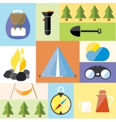 Camp tent set icon adventure hike forest travel vector