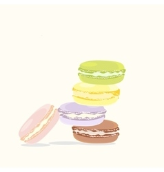 French macaron dessert tasty colorful cookie sweet vector