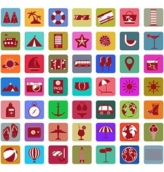 Summer holiday icon set vector